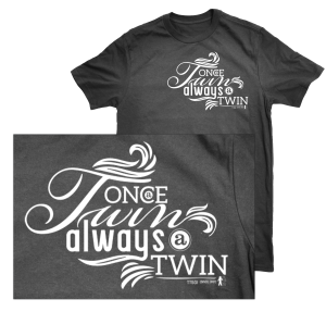 charcoal once a twin always a twin tshirt - zoom